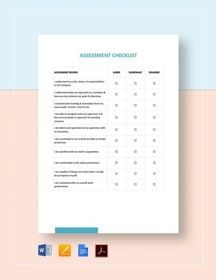 Assessment Checklist Template