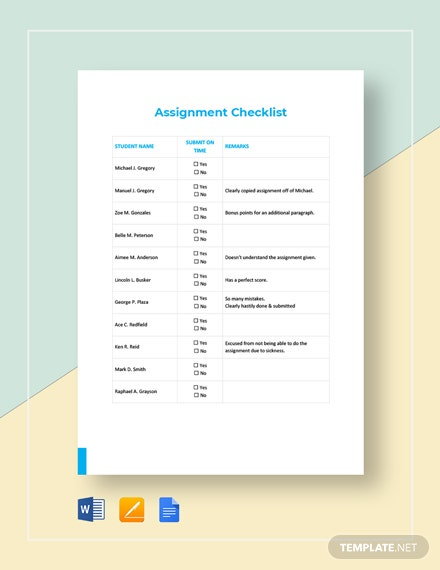 Assignment Checklist Template