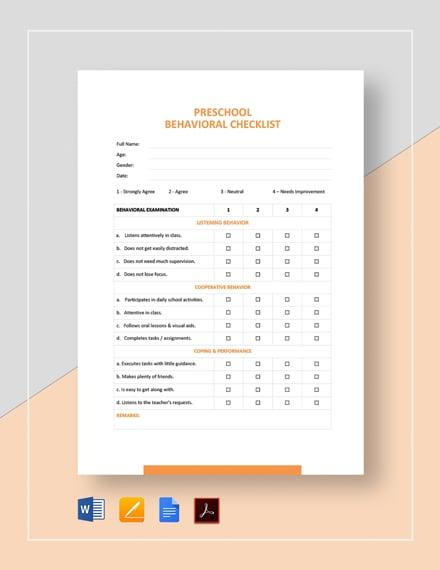 Behavior Checklist Template
