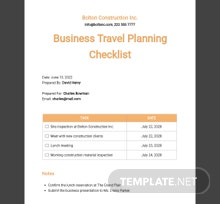 Business Travel Planning Checklist Template