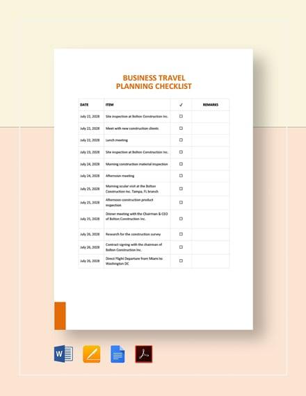 Business Travel Planning Checklist Template
