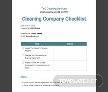 Cleaning Company Checklist Template