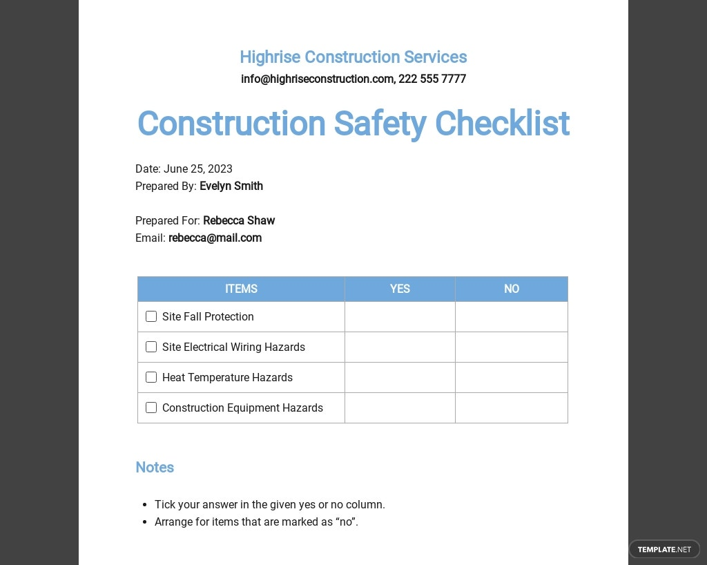 Construction Safety Checklist Template
