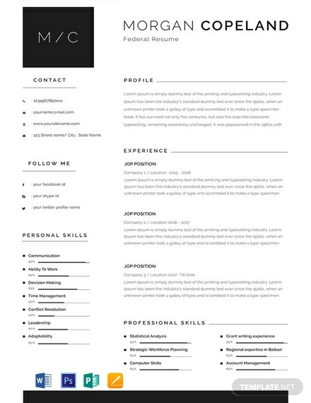 Free Federal Resume Template