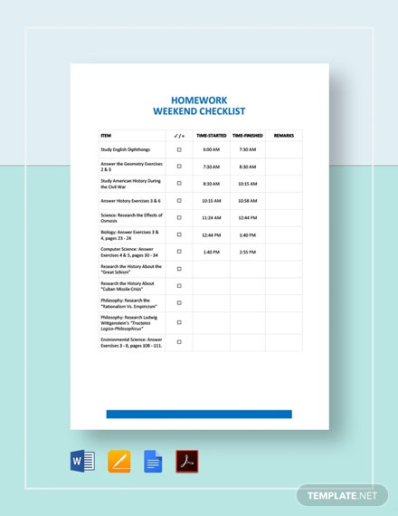 Homework Checklist Template