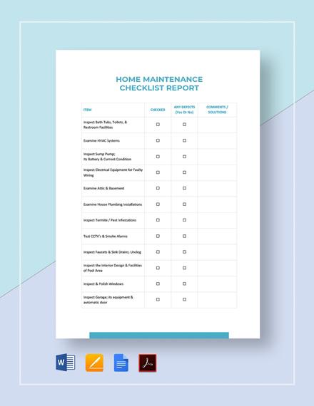 Maintenance Checklist Template