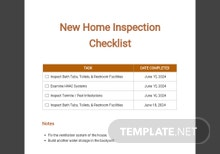 New Home Inspection Checklist Template