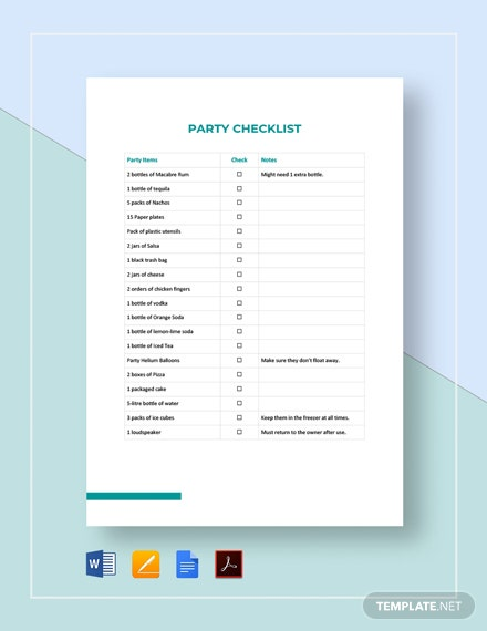 Party Checklist Template