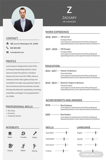 Free HR Manager Resume Template