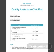 Quality Assurance Checklist Template
