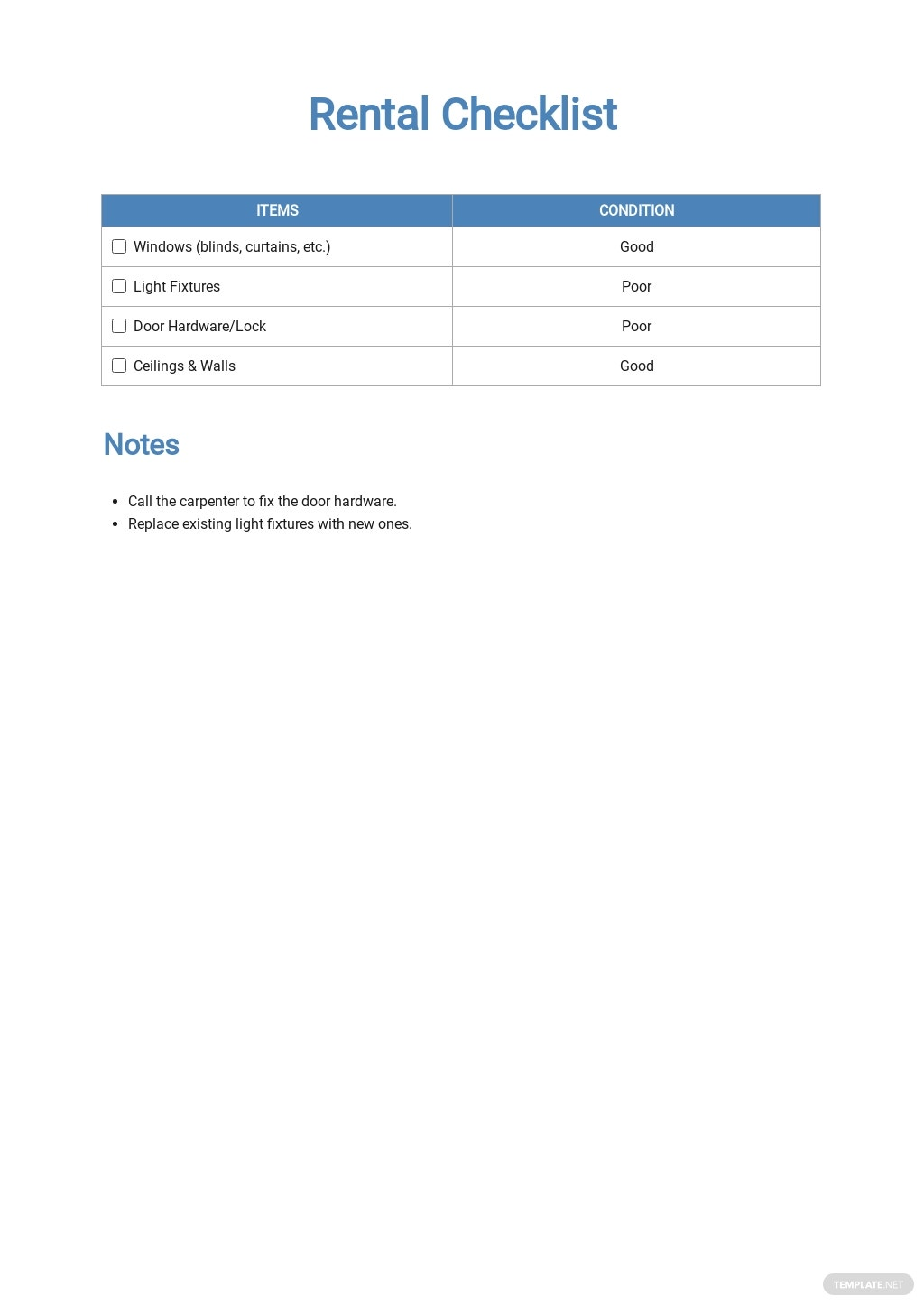 Rental Checklist Template