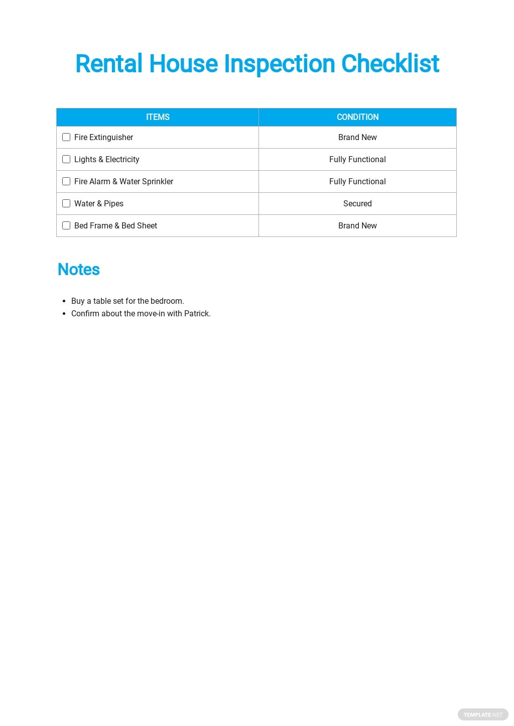 Rental House Inspection Checklist Template