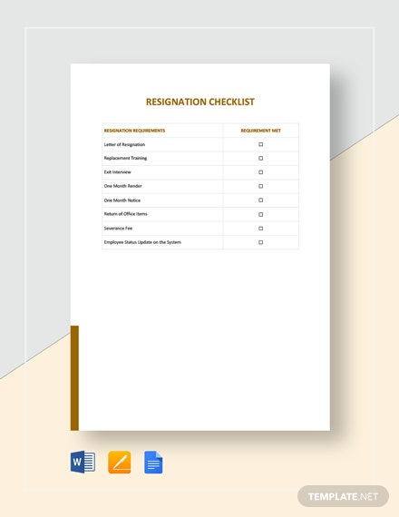 Resignation Checklist Template