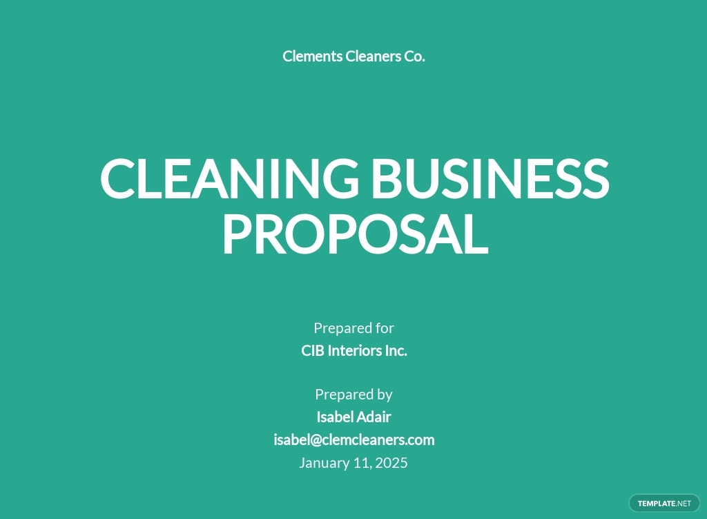 Sample Cleaning Business Proposal Template [Free PDF] - Google Docs, Word, Apple Pages, PDF