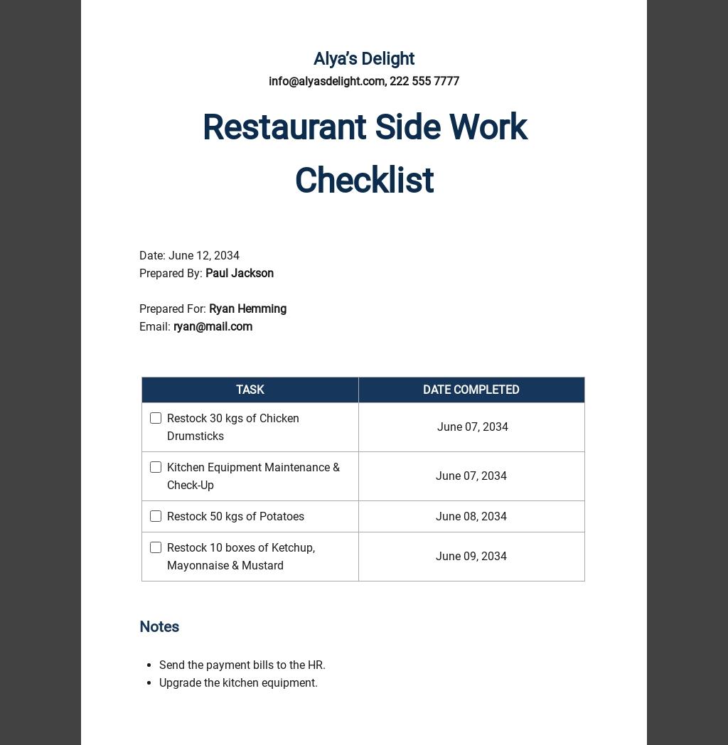 Restaurant Side Work Checklist Template