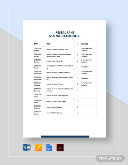 Restaurant Side Work Checklist Template