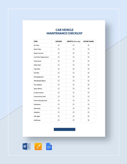 Vehicle Checklist Template