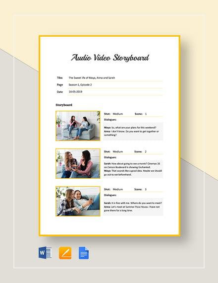 Audio Video Storyboard Template