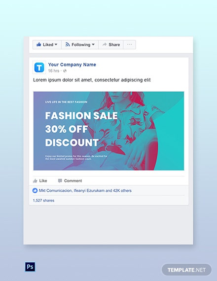 Free Fashion Products Sale Facebook Post Template