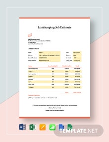 Landscaping Job Estimate Template