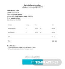 Product Order Form Template