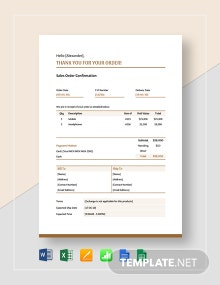Sales Order Confirmation Template