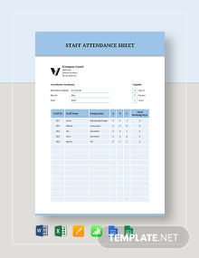 Staff Attendance Sheet Template