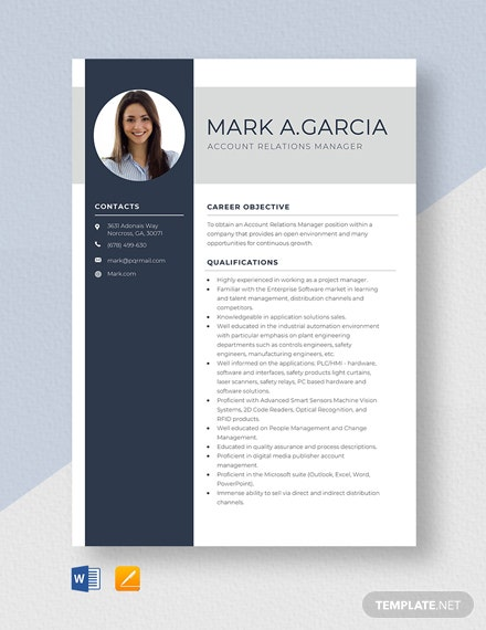 Account Relations Manager Resume Template
