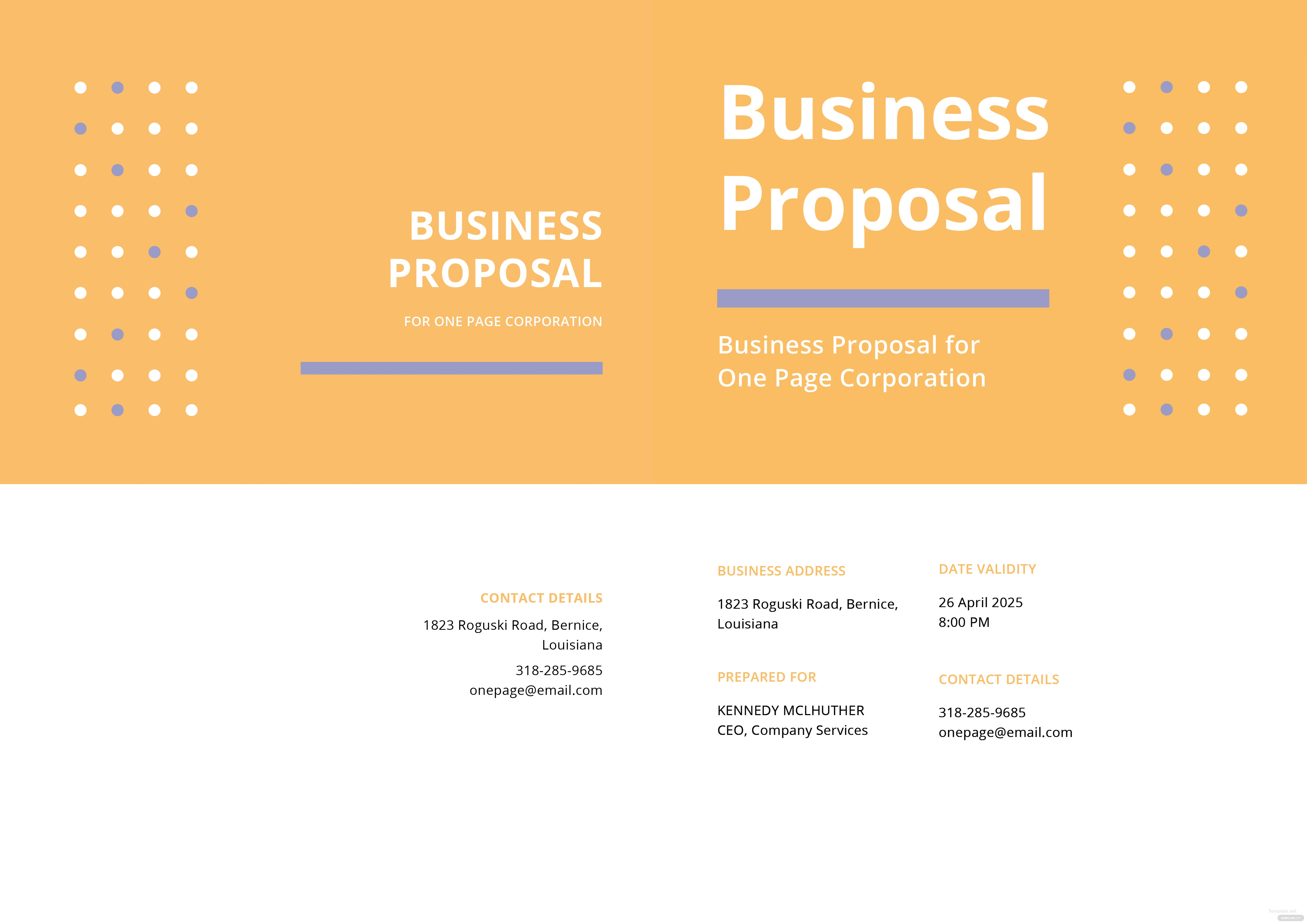 click to see full template one page proposal