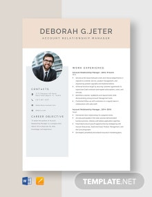 Account Relationship Manager Resume Template