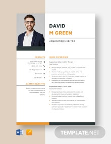 Acquisitions Editor Resume Template