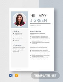Acquisitions Librarian Resume Template
