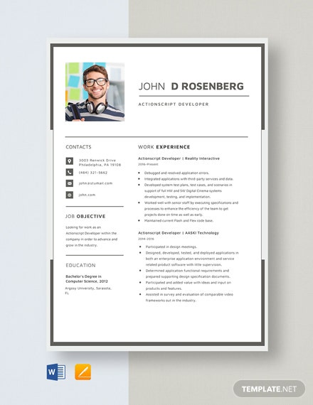 Actionscript Developer Resume