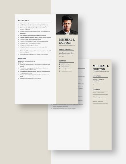Advertising Representative Resume Template Download