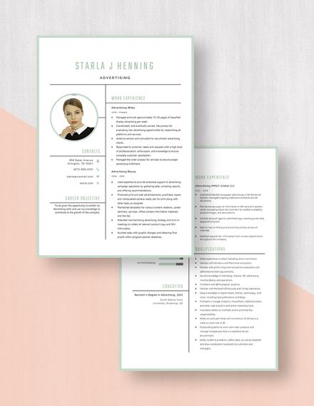 Advertising Resume Download