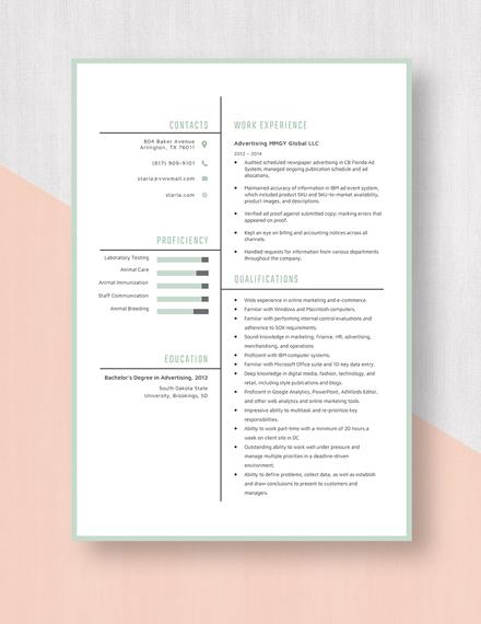 Advertising Resume Template