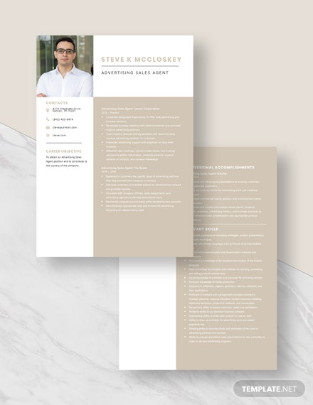 Advertising Sales Agent Resume Template Download