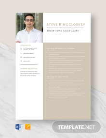 Advertising Sales Agent Resume Template