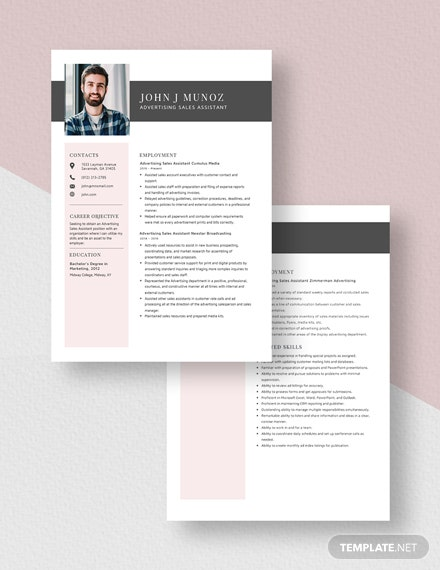 Advertising Sales Assistant Resume Download