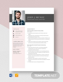 Advertising Sales Assistant Resume Template