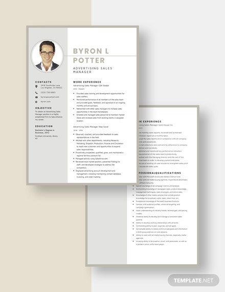 Advertising Sales Manager Resume Download