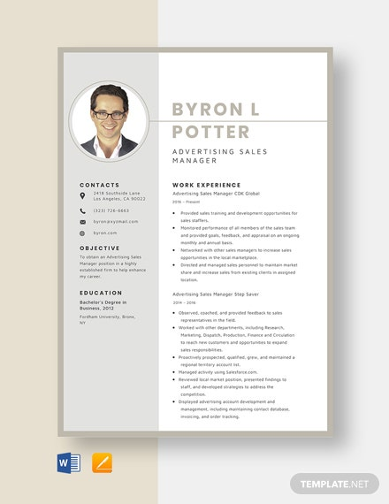 Advertising Sales Manager Resume