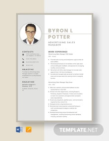 Advertising Sales Manager Resume Template