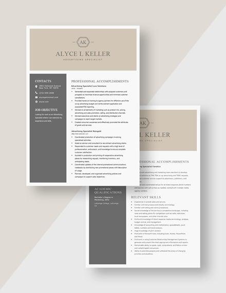 Advertising Specialist Resume Download