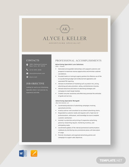 Advertising Specialist Resume Template