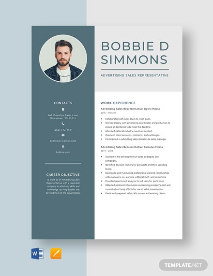 Advertising Sales Representative Resume Template
