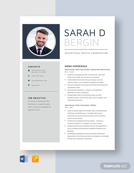 Advertising Traffic Coordinator Resume Template