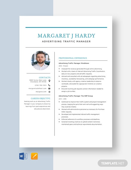 Advertising Traffic Manager Resume Template