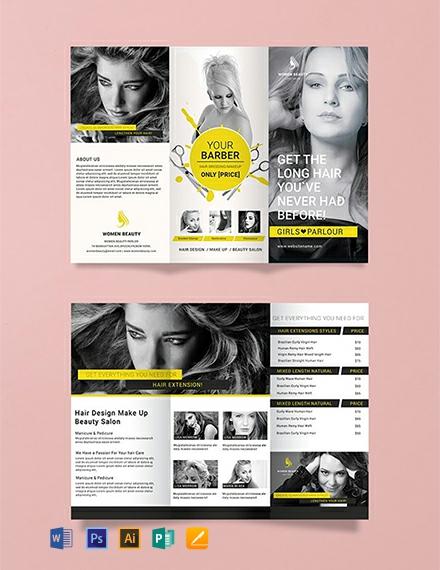 Free A3 Beauty Parlor Tri-Fold Brochure Template