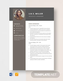 Advocacy Manager Resume Template